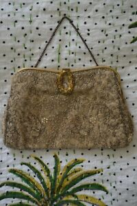 VINTAGE 1920s French silver beaded ivory mesh evening bag clutch