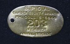 45mm S P C A Camden NJ Animal Birgade Keychain Fob Vintage brass plaque tag
