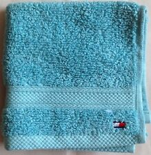 Nwt Set Of 4 Tommy Hilfiger Logo Aqua Cotton Towels