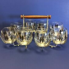 Federal Glass Harlequin Diamonds Mid Century Old Fashioned Glasses 8 with Caddy