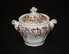 Old Vintage Vine & Wheat Brown Leaves Grapes by Booths Sugar Bowl w Lid England