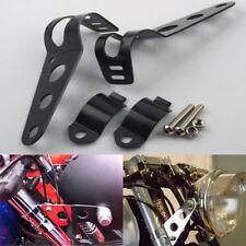 2pcs Support Patte de Feu Phare Avant Optique Mount Bracket Moto Noir 28mm-45mm