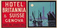 A) Original Vintage Luggage Label Hotel Britannia Genova Kofferaufkleber EB 701