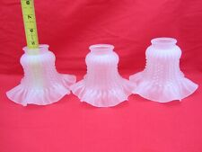 3 VINTAGE GLASS FROSTED WHITE RUFFLED GLASS CEILING FAN LIGHT LAMP SHADE ORNATE