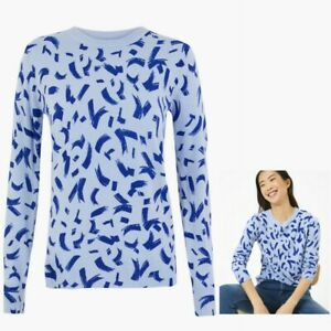 Ladies M&S Collection Printed Jumper Blue Sizes 8 - 20