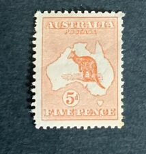 Kangaroo Stamp: 5d Brown First WM 1st Watermark Mint (7034)