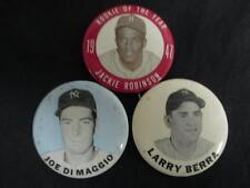 Jackie Robinson 1947 Rookie Of The Year Joe DiMaggio Yogi Berra PinBack Buttons