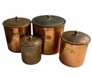 Vintage Copper Kitchen Canisters Brass Label Plates & Handles Unpolished Patina