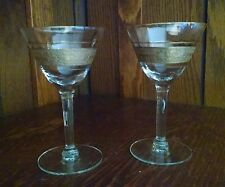 Crystal Gold Encrusted Embossed Floral Band Optic Stemware Lot Of 2 Tiffin?
