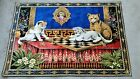 """Vintage 70's Aristocrat Cats Playing Chess Wall Tapestry Large 58"""" X 39""""  Italy"""