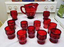 Vintage Viking Glass Georgian Ruby Red Pitcher 48 oz. & 12  9 oz. Flat Tumblers