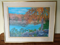 1993 Frances J. Brown Oil Painting Landscape Pond Lake Woods of Paxton MASS