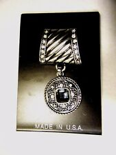 Square Dark Blue Stone Made In Usa Silver Scarf Ring Slider Round Pendant With