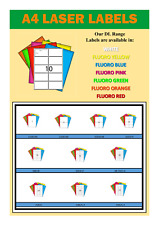 A4 LABELS - 100 SHEETS - AVAILABLE IN WHITE & 6 FLUORO COLOURS TO CHOOSE FROM
