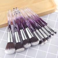 10Pcs Makeup Brushes Crystal Glitter Pencil Blush Face Powder Foundation Brush