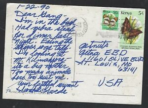 KENYA (PP2101B) 1990 BUTTERFLY 50C+5/- ON PPC TO USA
