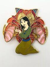 Disney Fantasy Jumbo Pin Princess Mulan Stained Glass Mushu Dragon LE 35