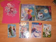 LOT of 7: Disney FROZEN BOOKS Big Golden Book, Olaf's Christmas + Shirt Stickers