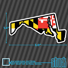 """SMALL Maryland State Outline Flag - 3.0""""x1.6"""" - vinyl decal sticker hardhat"""