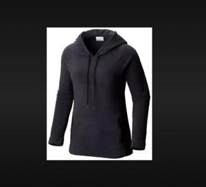 NWT Columbia ARCTIC AIR Solid Black LIGHT Fleece HOODED Sweatshirt Top XL POCKET