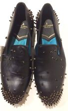 New Louis Leeman $950 Spikes Black Leather Loafers (Size: 40EU/7US)