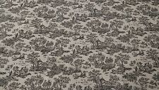 "VINTAGE PRINTED BLACK 100% FLAX LINEN 6 OZ. TOILE CANVAS FABRIC 45""W UPHOLSTERY"