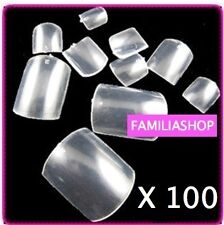 100 FAUX ONGLES TRANSPARENT CAPSULE ORTEIL FRENCH PEDICURE