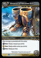 WOW WARCRAFT TCG SCOURGEWAR RARE : GREAVES OF ANCIENT EVIL X 4