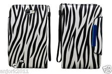 Samsung Galaxy Note II 2 Wallet Case w/ Card Slots Magnetic Closure White Zebra