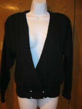 WOMENS BLACK CARDIGAN with RHINESTONE BUTTONS DRESSY SWEATER-S