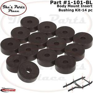 Prothane 1-101-BL Body Mount Insert Bushing Kit for 55-73 Jeep CJ5 - 14 piece