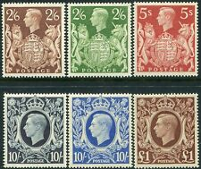 More details for george vi 1939-1951 sg 476-sg 512 high values average mounted mint single stamps