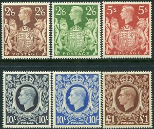 George VI 1939-1951 Sg 476-Sg 512 High Values Average Mounted Mint Single Stamps