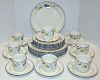 21 Pc. Lenox Chinastone Buttercups on Blue Dinnerware - Plates, Cups, Saucers