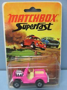 MatchboxSuperfast2B Jeep Hot Rod Pink / Rare White Base / BLISTER