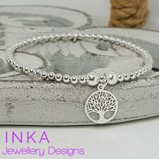Inka 925 Sterling Silver stretch bead Stacking Bracelet with Tree of Life charm