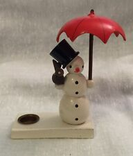 Cute Wooden Snowman with Red Umbrella Mini Candle Holder 1970s Gdr East Germany