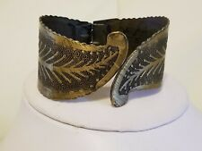 Leaves Hinged Jewelry Metal bangle Vintage Brass Cuff Bracelet Leaf