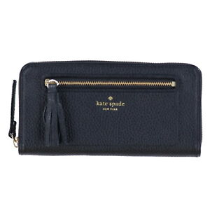 Kate Spade New York Wallet Chester Street Neda Black Pebbled Zip Leather New