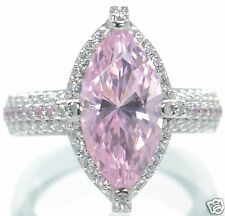 Epiphany Platinum Clad Pink Diamonique Solid 925 Sterling Silver Ring Sz-5 '