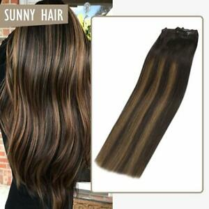 Sunny Clip in Double Weft Remy Human Hair Extensions Balayage Brown 2/2/6# 7pcs