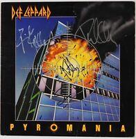 Def Leppard Pyromania Signed Autograph JSA COA Album Record Vinyl LP Full Band