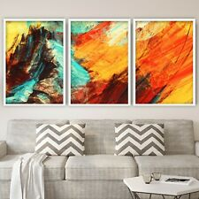More details for set of 3 abstract wall art print painting orange yellow picture contemporary