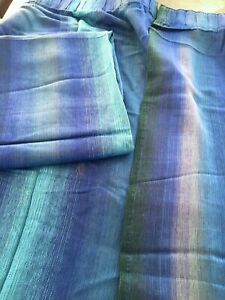 Vintage 1970's Blue & Turquoise Curtains 2 Pairs (4 Curtains) Beautiful Quality