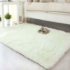 New Fluffy Living Room Carpet Shaggy Soft Area Rug Rectangle Floor Mat White MT
