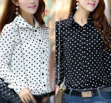Casual T Shirt Women Polka Dot Long Sleeve Button Loose Chiffon Tops Blouse