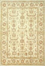 Traditional Hand Knotted Farhan Area Rug Ivory Color 100% Wool Rug Size(5.5 x 8)