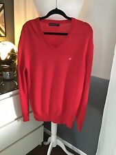 Jumper M Men's French Connections Red Thin Knit Mod Northern Cotton Golf