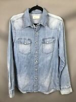 H&M Size 10 12 Denim Skirt Pearl Effect Poppers Double Pocket Utility On Trend