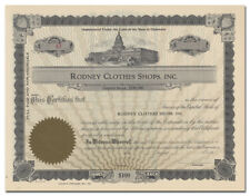 Rodney Clothes Shops, Inc. Stock Certificate